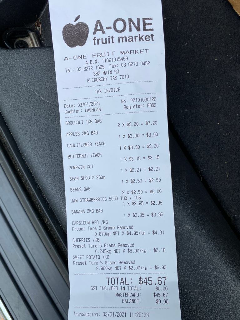 A-One Fruit Market Receipt